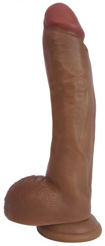25 CM Realistic Dildo With Scrotum - Brown