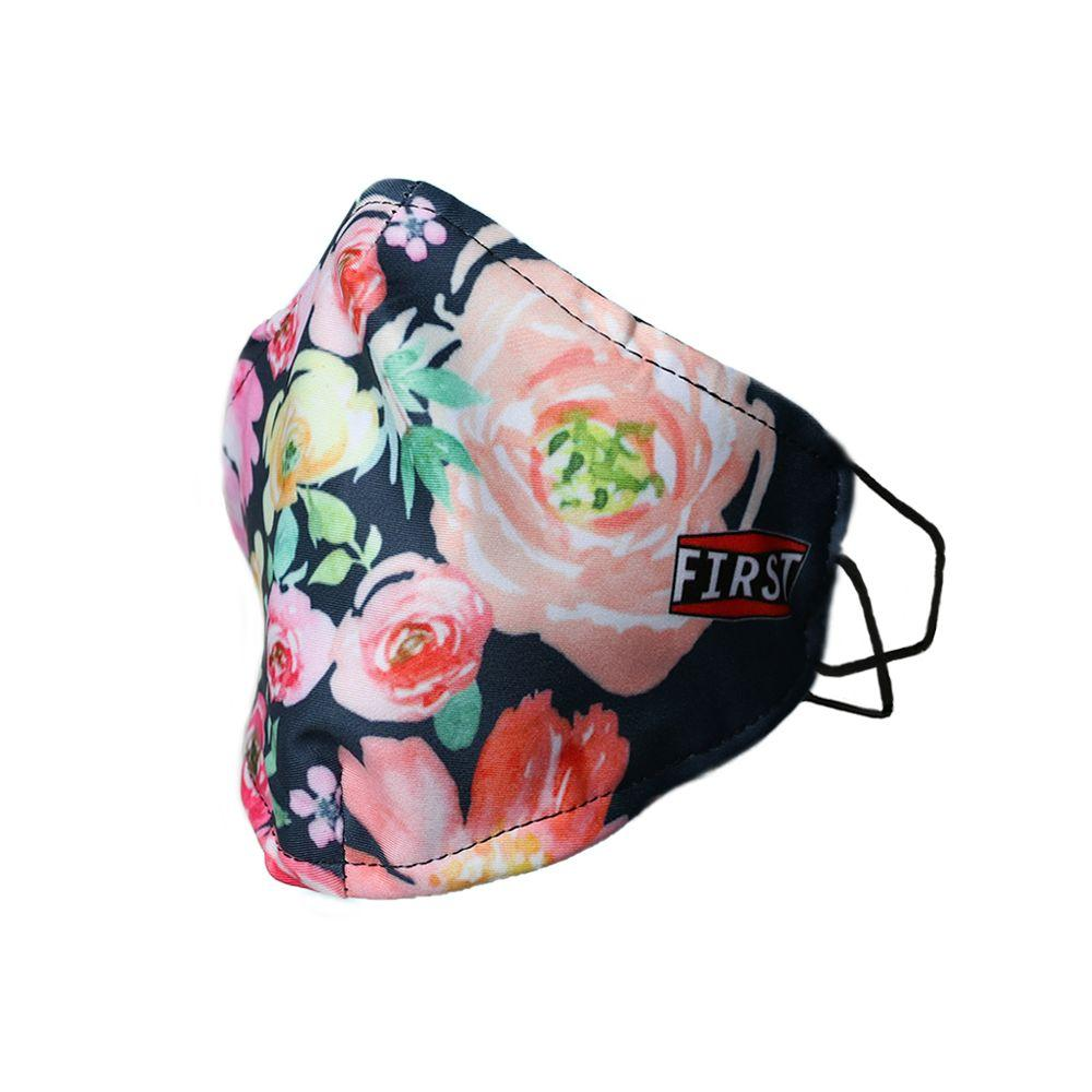2-Ply Black/Pink Floral Reusable Non-Medical Breathable & Elastic Ear Bands Face Masks (5-Pcs Pack)