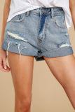 2 Tell Me More Light Wash Distressed Denim Shorts at reddressboutique.com