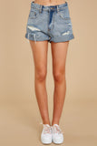 3 Tell Me More Light Wash Distressed Denim Shorts at reddressboutique.com
