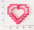 8-Bit Heart Outline-Only 2-Size Set