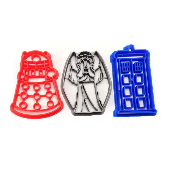 Doctor Who Tardis Dalek and Weeping Angel Cookie Cutter Set