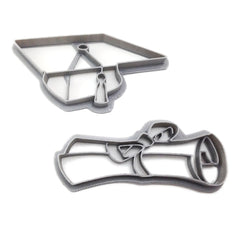 Graduation Hat and Diploma Cookie Cutter Set