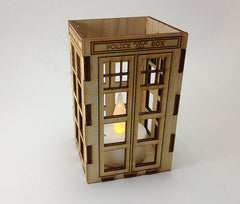 Wooden TARDIS Candle Holder
