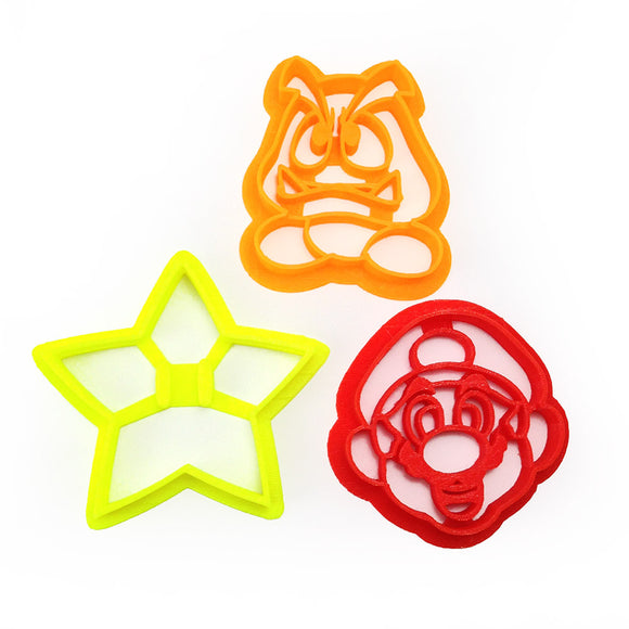 Super Mario Goomba Starman and Mario Face Cookie Cutter Set