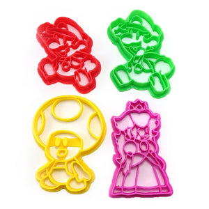 Paper Mario Luigi Princess Peach and Toad Cookie Cutter Set