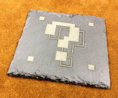 Super Mario Question Block Stone Slate Etched Coaster