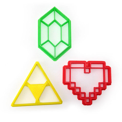 Legend of Zelda Triforce 8bit Heart and Rupee Cookie Cutter Set