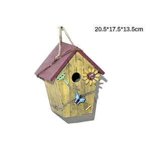 Hangable Bird Nest Wooden Birds DIY House Outdoor Bird Cage Pet Parrot Birds House Garden Decorations