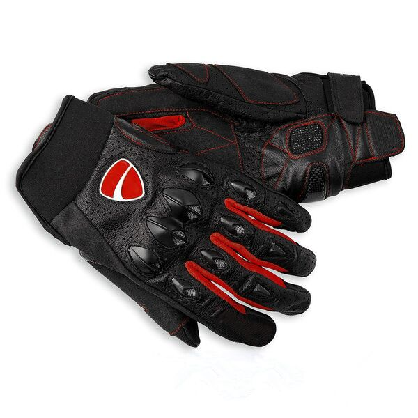 Black Red Moto Racing For Ducati MX MTB Corse Leather Racing Motorbike Glove