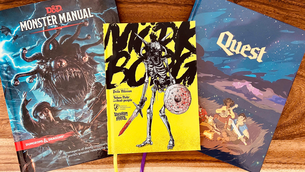 DnD Monster Manual, Mork Borg, and Quest RPG