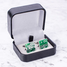 Load image into Gallery viewer, Novelty Green Computer Circuit Board Cufflinks Computer