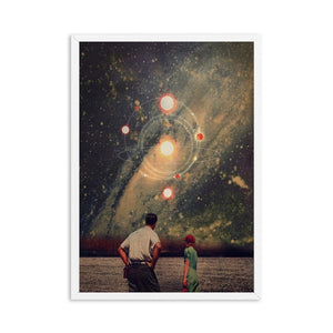 Night Sky Art Prints Earth Surrealism Galaxy Space Moon Canvas Painting
