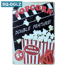Load image into Gallery viewer, Popcorn and Cinema Metal Sign Bar Wall Decoration Tin Sign Vintage Metal Signs