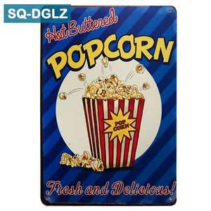 Popcorn and Cinema Metal Sign Bar Wall Decoration Tin Sign Vintage Metal Signs