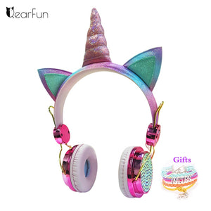 Cute Unicorn Wired Headset With Microphone Music Stereo
