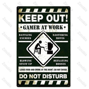 Gamer Metal Signs Tin Wall Decor for House