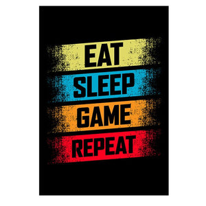 Eat Sleep Game Repeat Gaming Wall Art Poster Gamer Canvas Painting Poster and Prints