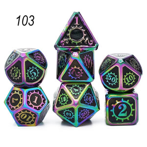 Metal Dice Set 7 D4 D6 D8 D10 D12 D20 with Soft Drawstring Pouch