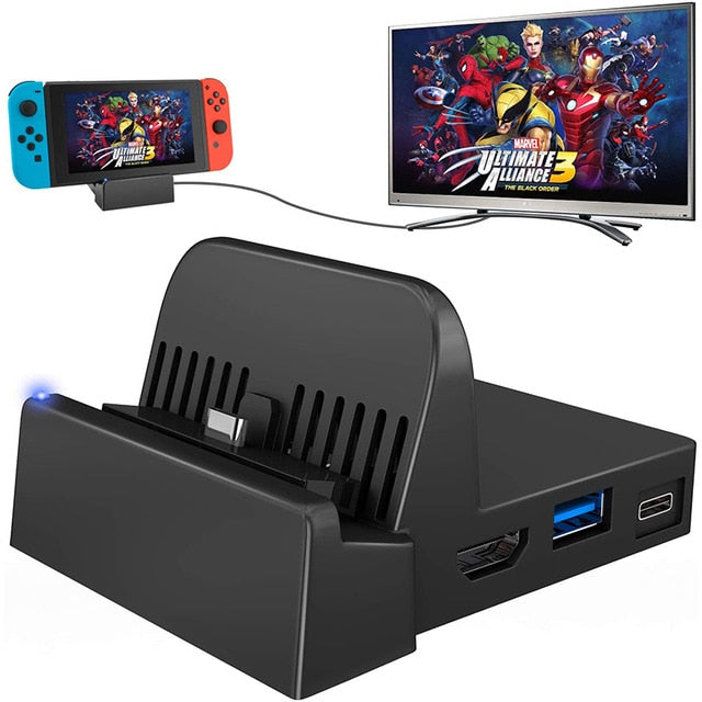 Portable Mini Switch TV Docking Station Charging Stand Replacement for Nintendo Switch Dock