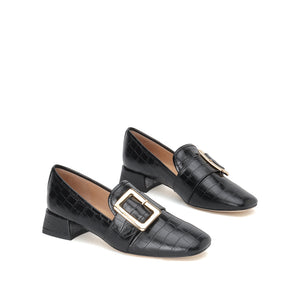 LEATHER LOAFERS WITH BUCKLE