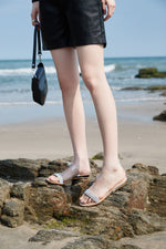 Load image into Gallery viewer, CRYSTAL EMBELLISHED STRAP FLAT SANDALS