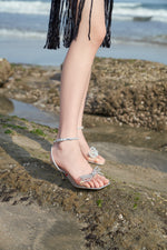 Load image into Gallery viewer, CRYSTAL BOW HEELED SANDALS