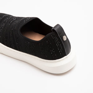 CRYSTAL-EMBELLISHED FABRIC SLIP ONS