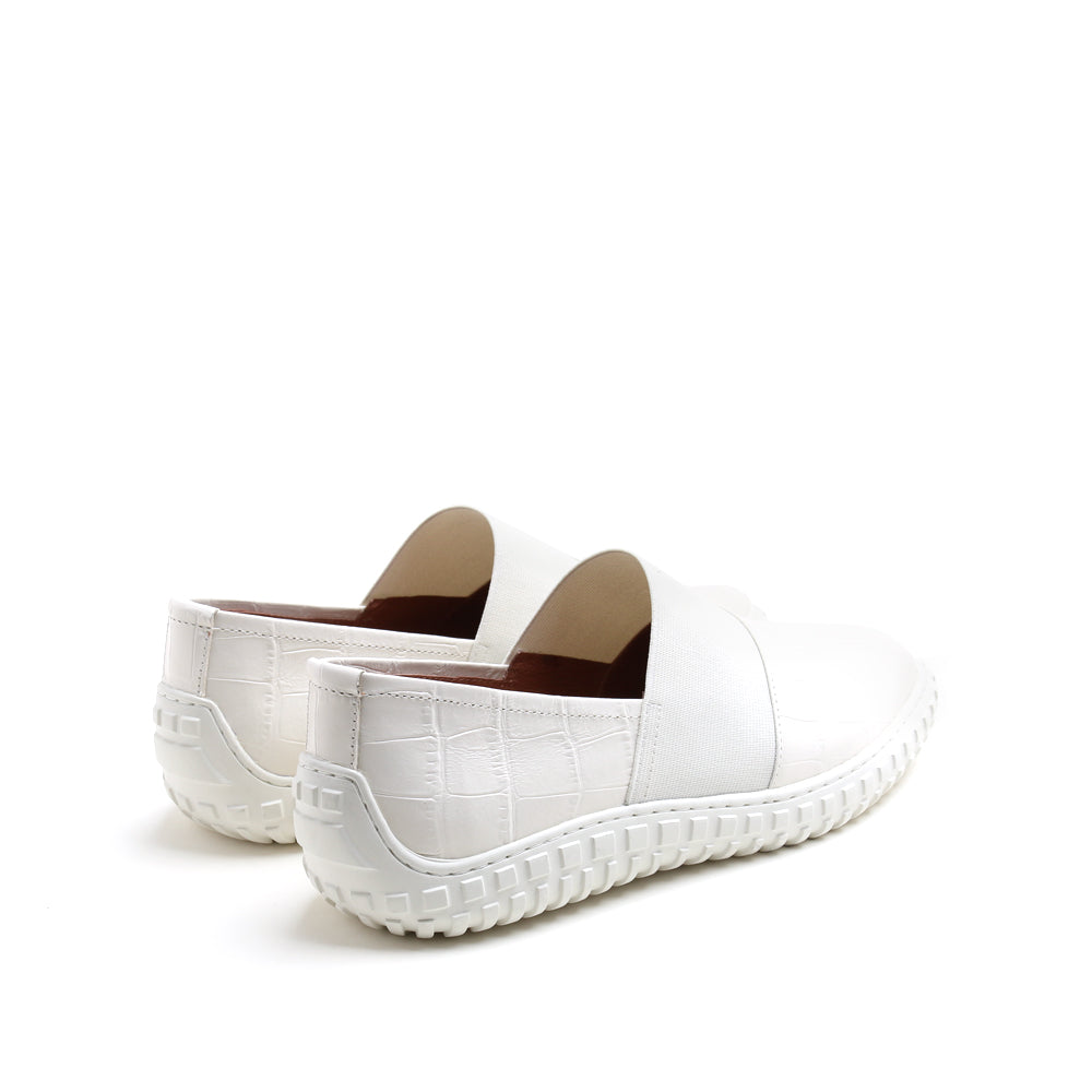 CROC-EMBOSSED LEATHER SLIP ON SNEAKERS
