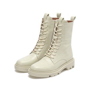 LACE UP COMBAT BOOTS WITH ZIPPER