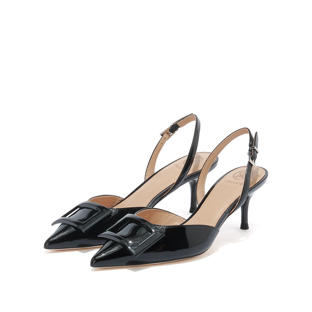 SQUARE BUCKLE SLINGBACK PUMPS