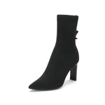Load image into Gallery viewer, FABRIC POINTED HIGH HEEL BOOTS