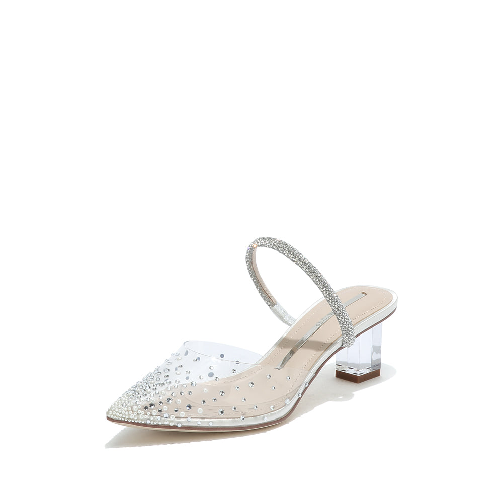 CRYSTAL AND PEARL EMBELLISHED VINYL PUMPS
