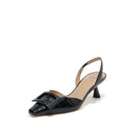 Load image into Gallery viewer, SQUARE BUCKLE CROC-EMBOSSED LEATHER SLINGBACK PUMPS
