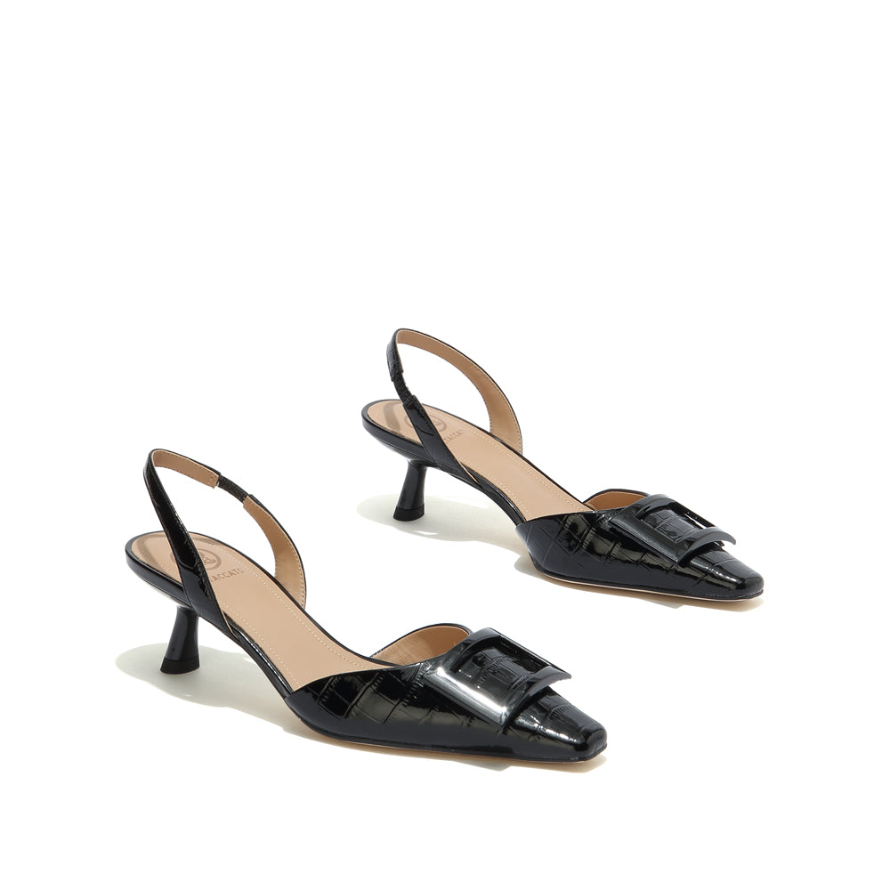 SQUARE BUCKLE CROC-EMBOSSED LEATHER SLINGBACK PUMPS