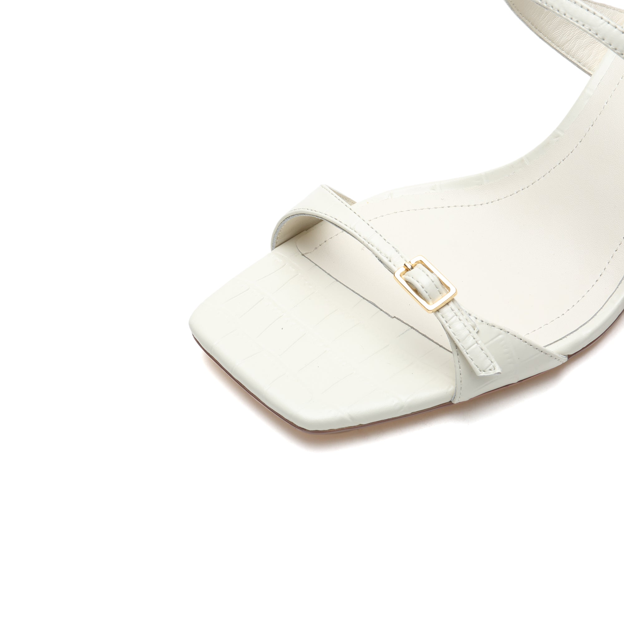 EMBOSSED CALF LEATHER HEELED MULES