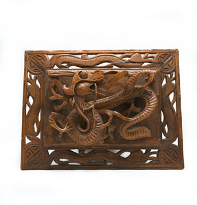 Carved Wooden Dragon Wall Hanging- Raised Design