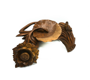 Carved Wooden Lotus with Lily Pad