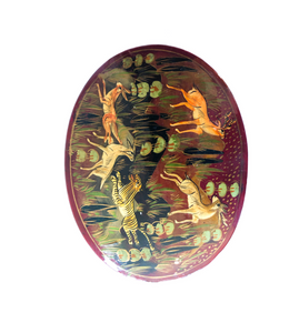 Oval Vintage Lacquered Paper Mache Box