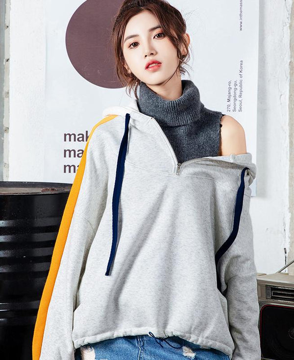 High Neck Hooded Sweater - TstudioCo