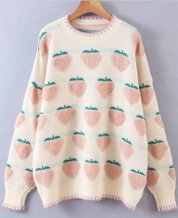 Peach Patterned Pullover Sweater - TstudioCo