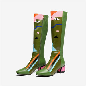 FEDONAS New Women Knee High Boots Sexy Prints Party Dancing Shoes Woman High Heels Long Warm High Boots Ladies Fashion Shoes