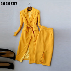 ladies suit autumn women skirt suit Korean Slim long suit windbreaker wild OL professional women suits two-piece office clothes