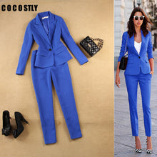 Load image into Gallery viewer, Pant Suits Set women's autumn female professional office lady blazer Slim blue suit jacket+ pants feet pants two sets