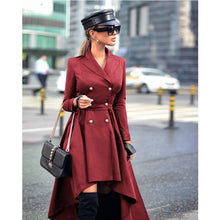 Load image into Gallery viewer, Vintage Women Lapel Double Breasted Suit Dress Winter Elegant Long Sleeve Belted Irregular Slim Office Dress Female Blazer D25