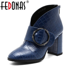 Load image into Gallery viewer, FEDONAS Women Fashion Ankle Boots Warm Autumn Winter Genuine Leather Short Boots High Heeled Zipper Buckle Office Shoes Woman