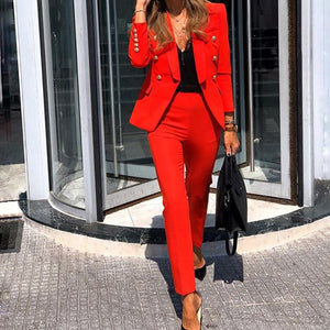 Spring Women Solid Long Sleeve Blazer Jacket Casual Pants Suits Office Lady Elegant Button Black 2 Piece Set OL Business Outfits