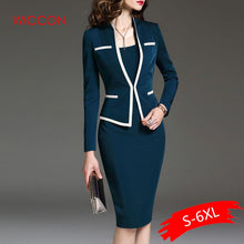 Load image into Gallery viewer, Women Suits Bodycon Dress Jacket 2 Pieces Set Office Wear Jacket Dress 2020 Spring Autumn Female Dress Suits Plus Size 6XL