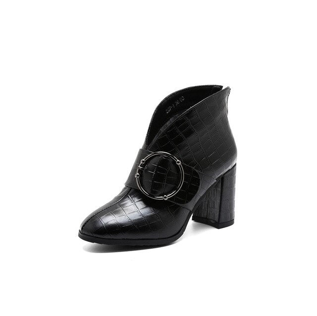 FEDONAS Women Fashion Ankle Boots Warm Autumn Winter Genuine Leather Short Boots High Heeled Zipper Buckle Office Shoes Woman