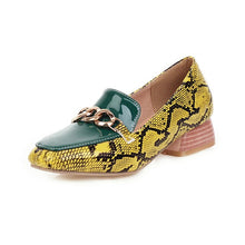 Load image into Gallery viewer, FEDONAS 2020 Spring Summer New Fashion Women Casual Shoes Mixed Colors Snake Pattern Metal Chain Square Toe Slip-On Shoes Woman